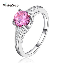 Visisap White Gold color rings pink stone cubic zircon Vintage jewelry Rings for women engagement bijoux