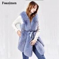 XS 5XL пальто с лисой для женщин 2018 Зима Новая мода жилет из натурального меха элегантная Толстая Теплая Верхняя одежда куртка из натурального