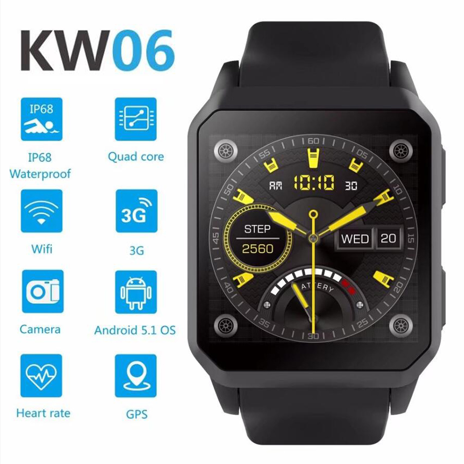 RUIJIE KW06 IP68 Waterproof GPS Smart Watch Android 5.1 MTK6580 Heart Rate Monitor Bluetooth Smartwatch Support SIM Card Camera 4g gps android 6 0 smart watch m5 mtk6737 heart rate monitor support sim card camera business smartwatch for men women 2018 gift