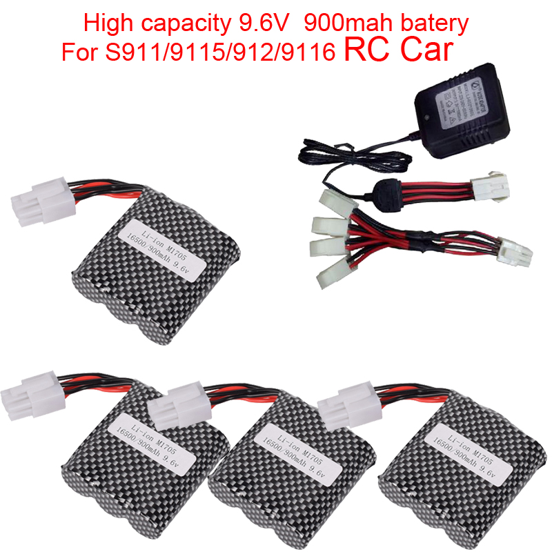 High capacity 9.6V 900mAh 15C EL-6P Li-ion <font><b>Battery</b></font> <font><b>RC</b></font> car S911 <font><b>9115</b></font> S912 9116 9120 <font><b>RC</b></font> Monster Truck EL6P Parts image
