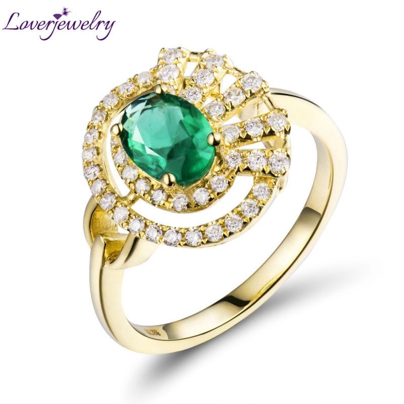 Přírodní diamantový diamantový prsten ovál 5x7mm v pevné 18 kt - Šperky