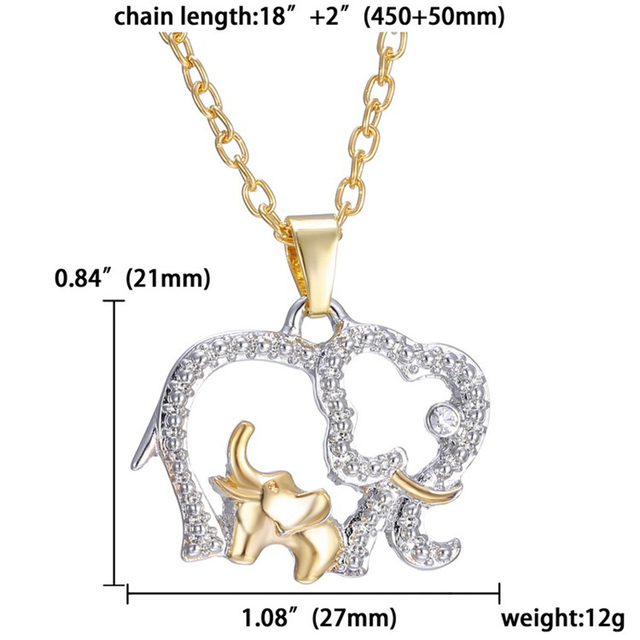 Elephant Glitter Rhinestones Crystal Necklace Chain