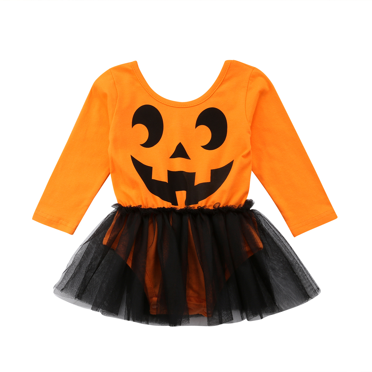 2018 Newborn Baby Girl Halloween Clothes Long Sleeve Tutu Tulle Skirted   Romper   Jumpsuit Outfits Party Costume