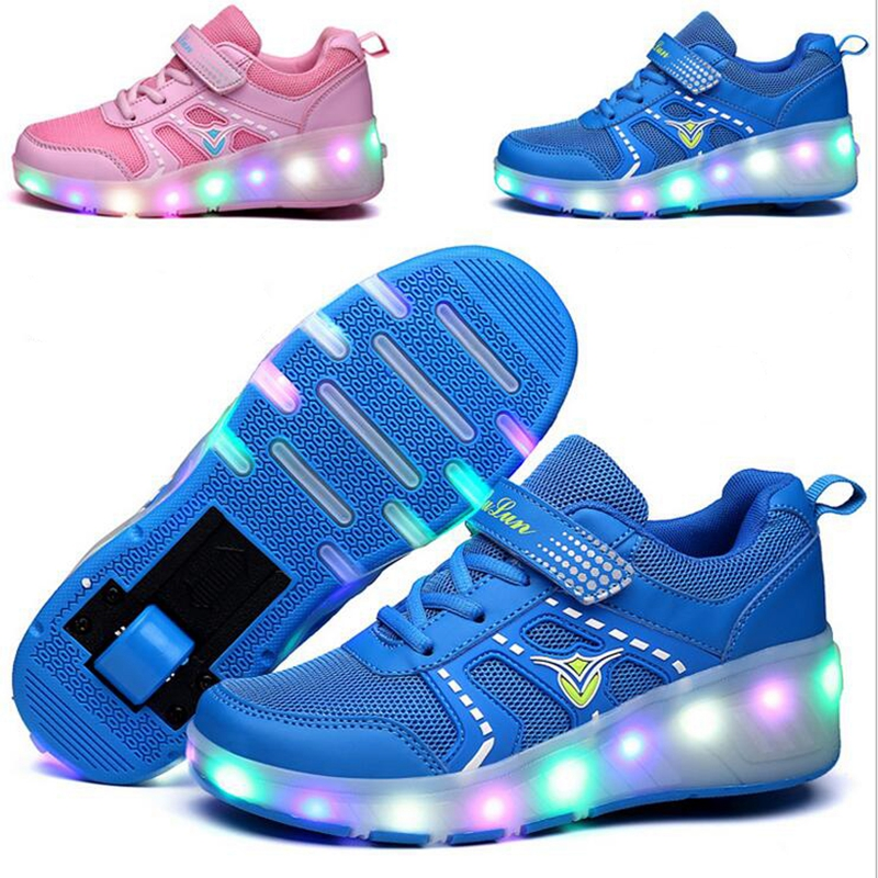 Children LED Sneakers Double Wheels Flame Buty Led Luminous Boys Girls Toddler Roller Sneakers Glowing Sneakers2017K03