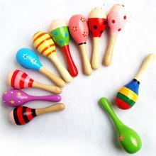 1 шт. красочные деревянные maracas мяч погремушка Игрушки для малышей кровать колокольчик песок молоток дети ребенок раннего обучения Музыкальные инструменты игрушки