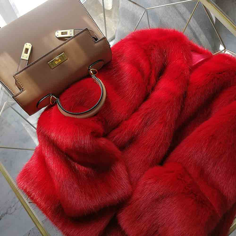 Garder Red Shaggy Chaud Femme Firstto Rouge Tops Poilu Hiver cou Corée Élégant Faux De Veste Manteau Outwear Fourrure Au V Lâche Vintage Renard FxZxXwqB