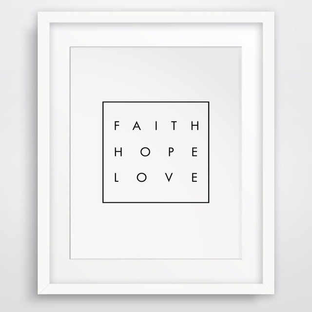Hot Inspirational Quote Faith Hope Love Christian Digital Wall Art