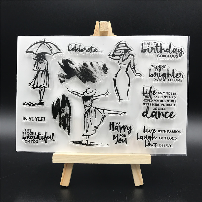 Dancing Girl Clear Silicone Rubber Stamp for DIY Scrapbooking/photo Album Decorative Craft Clear Stamp A505