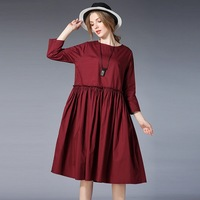 2018 Elegant Woman Dress Cotton Loose Maternity Dress Europe Style Plus Size Elegant Pregnancy Dresses Red Black XL 4XL