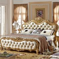 modern european solid wood bed Fashion Carved leather french bedroom furniture p10083