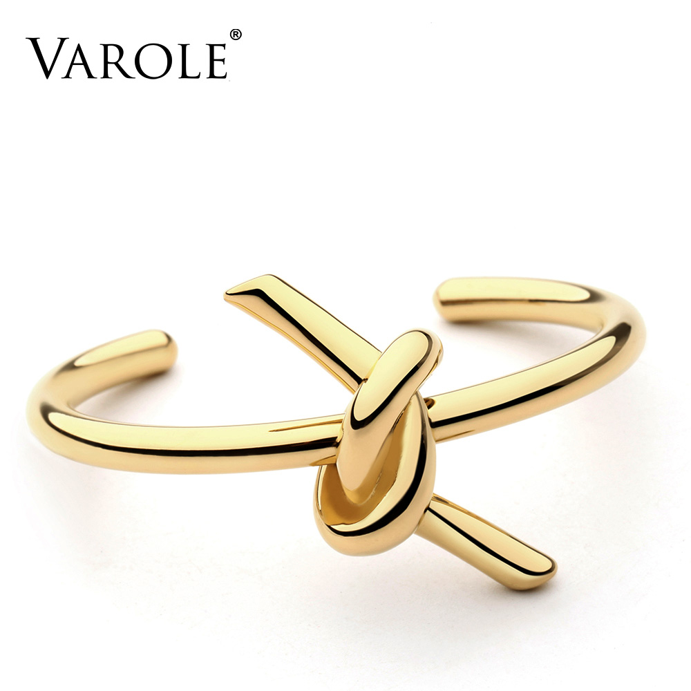 VAROLE New Knotted Rope Summer Cuff Bangle Gold Color Stainless Steel Bracelets & Bangles For Women Manchette Pulseras Masculina