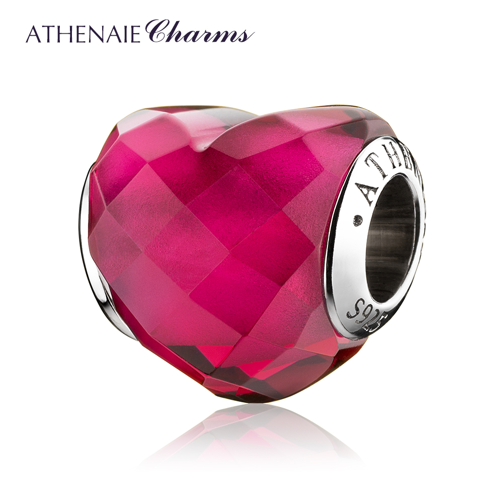 ATHENAIE Original 925 Sterling Silver Heart Shape of Love Fuchsia Beads for Charms Bracelet Jewelry Valentine's Mother's Day GIF