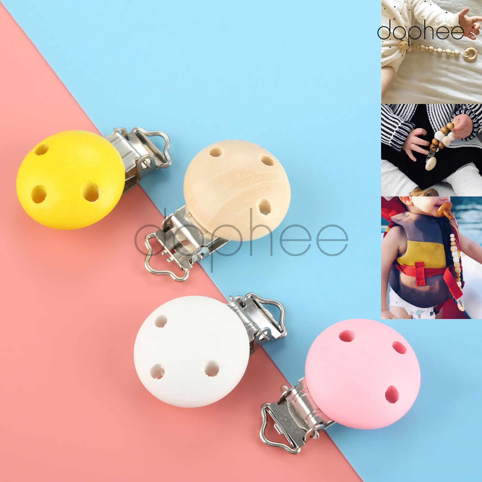 dophee 5pcs Multi-Color Natural Wooden Baby Pacifier Clips Infant Dummy Clips For Baby Clasps Holders Accessories