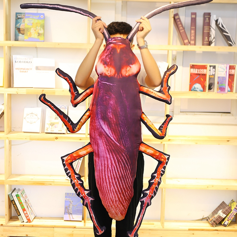 1pc 75cm Simulation Cockroach Plush Toy Stuffed Soft Insect Pillow Funny Toy Doll for Kids Baby Children Creative Birthday Gift 80cm simulation plush squid octopus toy creative stuffed lucky fish ocean animal doll kids birthday gift home shop decor triver