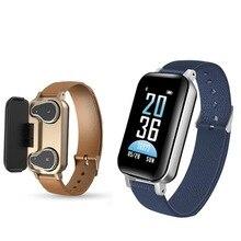 New 2 in 1 T89 TWS Smart Binaural Bluetooth 5.0 Headphone Fitness Bracelet Heart Rate Blood Pressure Wristband Sport Watch
