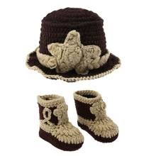 f330492e87918e 2Pcs Newborn Baby Photography Props Set Cowboy Style Wool Knitting Crochet  Hat Hat + Knitted Boots Shoes Cute Photo Studio Props