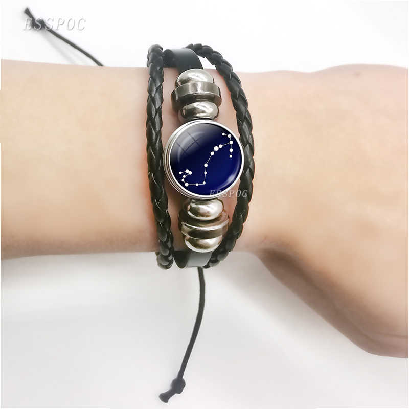 New Fashion 12 Constellation Bracelet Men Women Zodiac Sign Black Leather Wrap Bracelet Nebula Star Astrology Jewelry