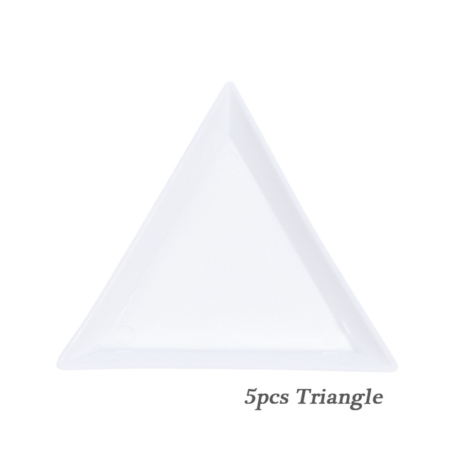 5pcs Acrylic Nail Gems Holder Glitter Rhinestones Storage Display Plate White Circular Triangle Container Case Manicure BEA11