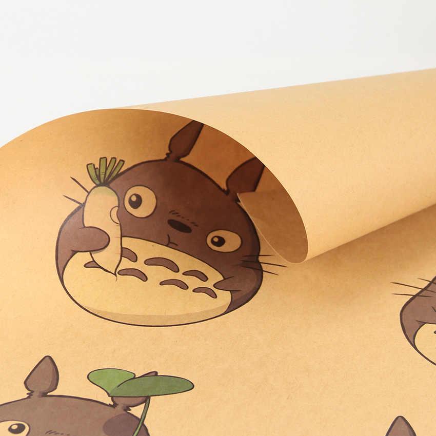 Плоский стикер на стену мультфильм Тоторо Экспрессия крафт бумага Винтаж Классический Бар Кафе декоративная живопись постер стикер на стену 50,5X35 см