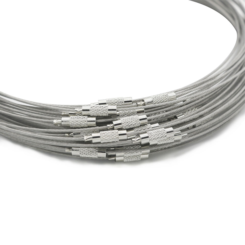 Round Stainless Steel Silver Wire Choker Necklace Memory Steel Ring ...