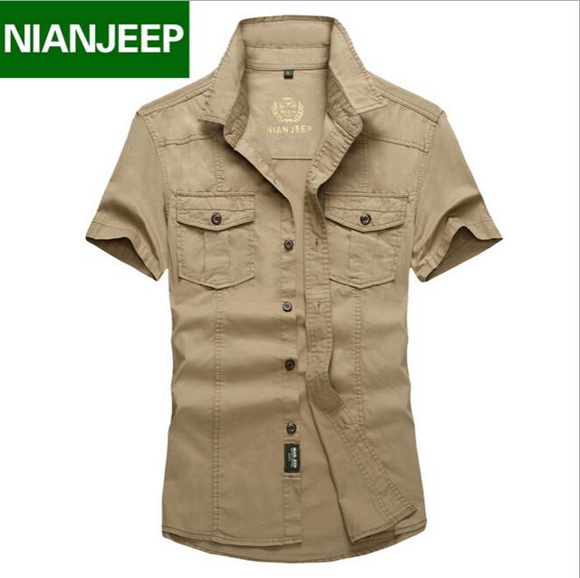 Camisa dos homens Marca NianJeep Plus Size Solto New Verão de manga curta 100% algodão camisas dos homens roupas casuais masculino
