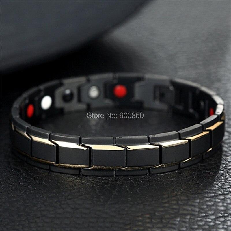 Men Titanium Steel Bracelet Magnetic Bracelet Bangle For Health Care Energy Power Antifatigue Best Birthday Gift in Wrap Bracelets from Jewelry Accessories