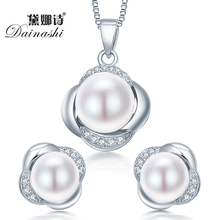Dainashi 925 sterling silver jewelry set earring/necklace pearl jewelry for women sterling-silver-jewelry sets with gift box