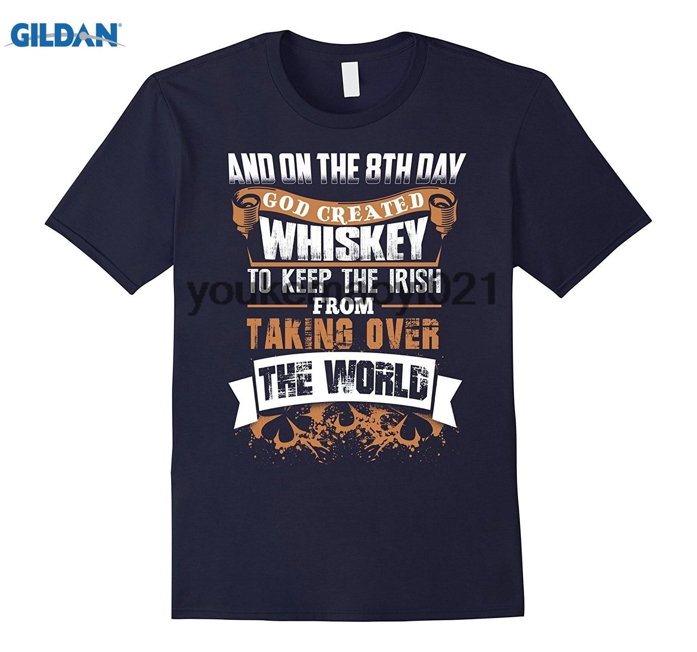 GILDAN On The 8th Day God Created Whiskey Keep The Irish Wine T Shi