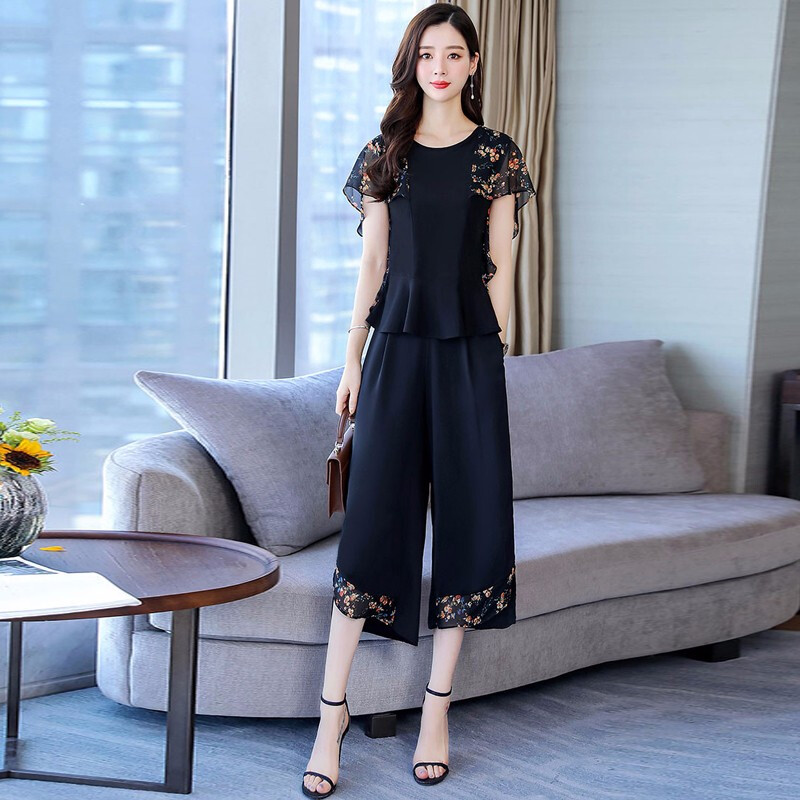 M-4xl Summer Printed Chiffon Two Piece Sets Outfits Women Plus Size Short Sleeve Tops And Cropped Wide Leg Pants Korean Sets 27