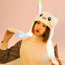LED Light Funny Plush Animal rabbit ear Up Down Hat bunny Cap with Airbag Jumping Ears Movable Girlfriend Gift Kids Playtoy B4