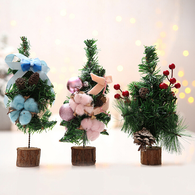 Mini Artificial Trees Christmas Decorations For Home Xmas Party Gift Tree Cotton Cherry Decoration Holiday