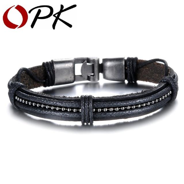 94913d1b7a4a OPK moda punk cuero tejido pulseras hombre nueva personalidad ancla  corchete hombres joyería regalo fresco diseño