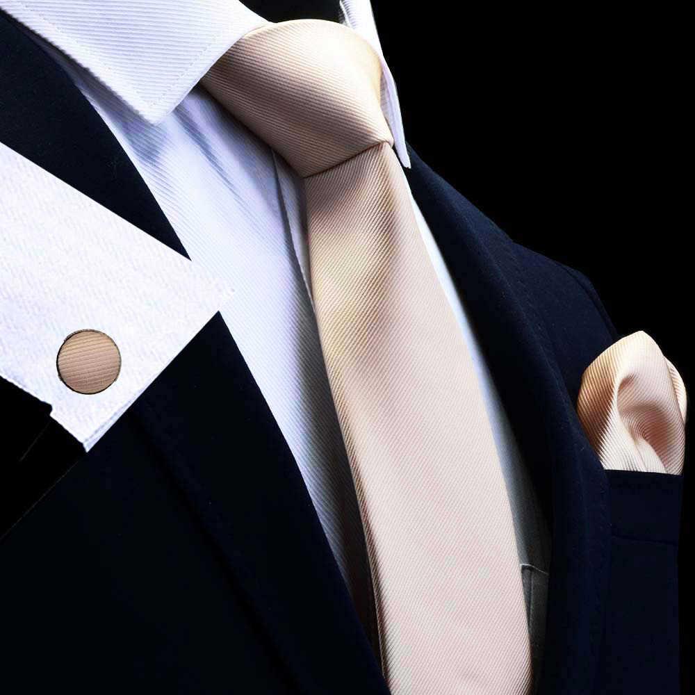 GUSLESON Neue Mode Klassische Feste Plain Männer Krawatte Tasche Platz Manschettenknöpfe Set Rot Gelb Grün Silk Krawatte Anzug Hochzeit Business
