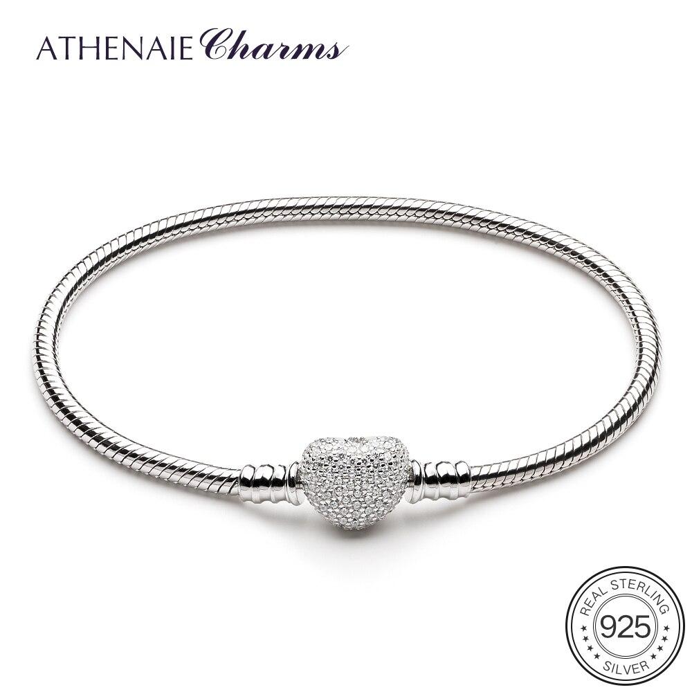 ATHENAIE 925 пробы Серебряная цепочка с проложить Ясно CZ Сердце застежка браслета Fit Все европейские шариках