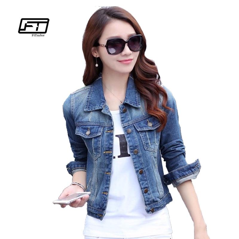 Fitaylor Autumn Plus Size Denim Jacket Women 2017 Long Sleeve Short Jeans Jacket Denim Slim Winter