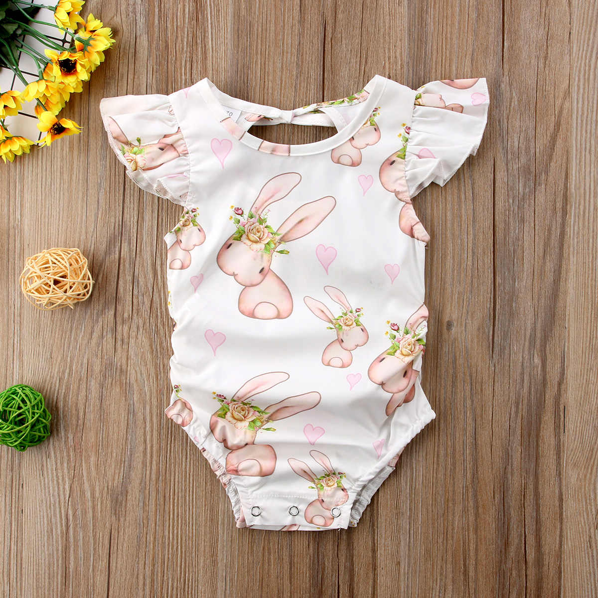 29bc81a92d1 Detail Feedback Questions about Newborn Baby Girls Bunny Floral Bodysuit  Kids Summer O Neck Jumpsuit Outfit Infant Flying Sleeve Animal Printed  Bodysuits on ...