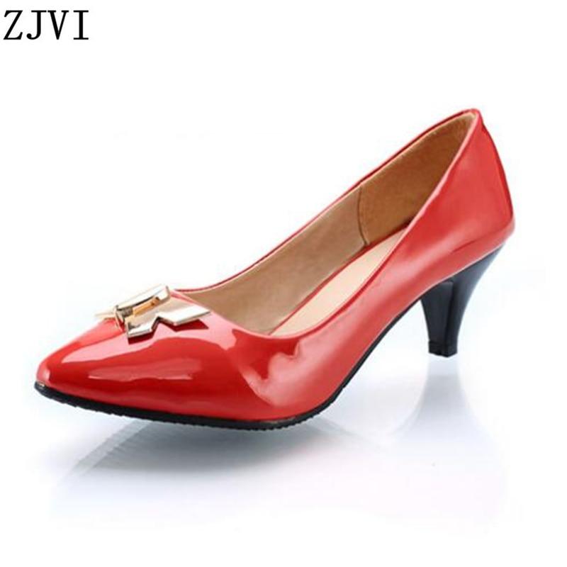 Kadın Siyah kırmızı kahverengi bej İnce med topuklu pompalar moda sivri ayak yeni sonbahar ayakkabı kadın bayan yaz rahat ayakkabılar artı boyutu