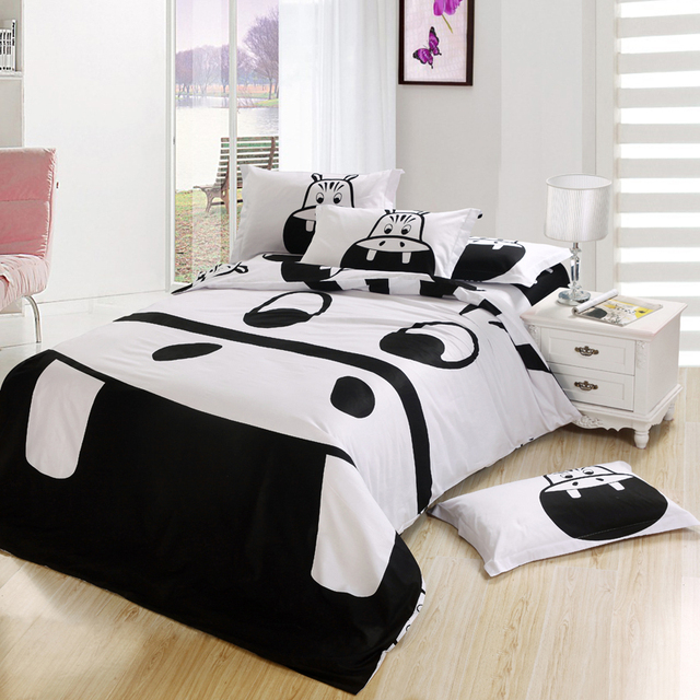 Black And White Hippo Print Bedding Sets King Queen Full Twin Size