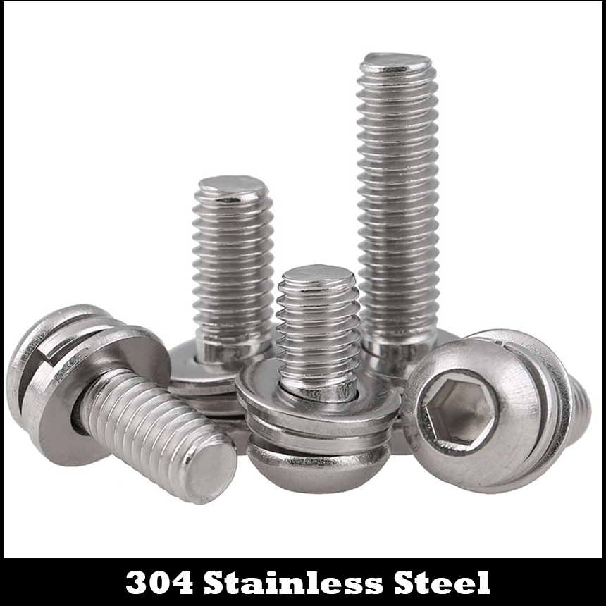 M4 M4*6/8/10/12/16/20 M4x6/8/10/12/16/20 304 Stainless Steel ss Plain Spring Washer Hex Hexagon Socket Round Head Screw Assembly m4 hex socket small pan button head screw plain and spring washer assemblies stainless steel machine screw diy repair