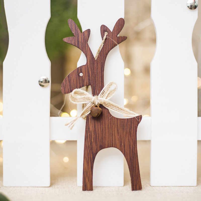 Kerst Herten Houten Hangers Ornamenten voor Xmas Tree Opknoping DIY Ornament Kids Gift Thuis Party Decorations Adornos De Navidad