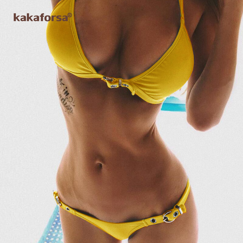 Women Pure Color High Waist Gold Lock Bikini Padded Swimsuit Bathing Beachwear Wire Free Bodysuits Skinny High Waist With Pad Sports & Entertainment