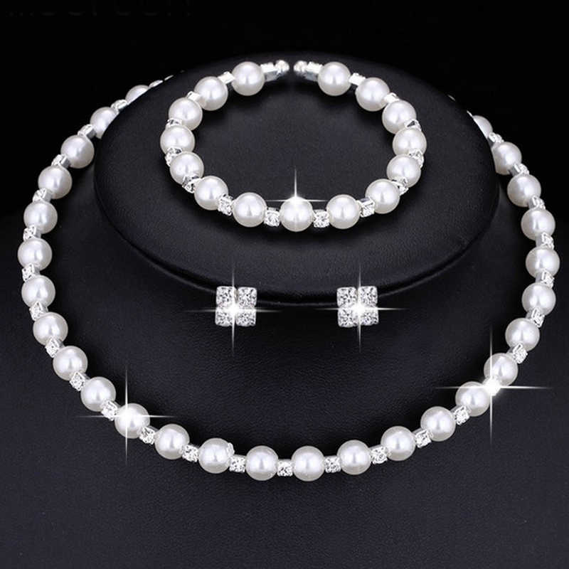 Shining Fashion Wedding Prom Bridal Jewelry Sets For Women Gift Silver Crystal Necklace Earrings Bracelet Pearl Jewelry set