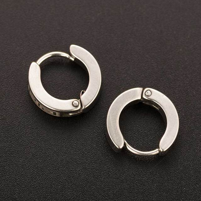 Chic 1Pair Cool Punk Men's Stainless Steel Hoop Piercing Round crystal Earring Ear Stud men woman jewelry