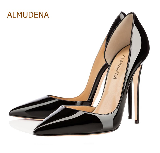 ALMUDENA Top Brand Spring Summer Black Nude Mirror Leather Pumps Sexy Stiletto  Heels Irregular Shallow Cut Wedding Shoes 12cm 4d57f28f0f32