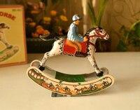 Retro tin toy clockwork rare Iron Rocking Horse Trojans Collection