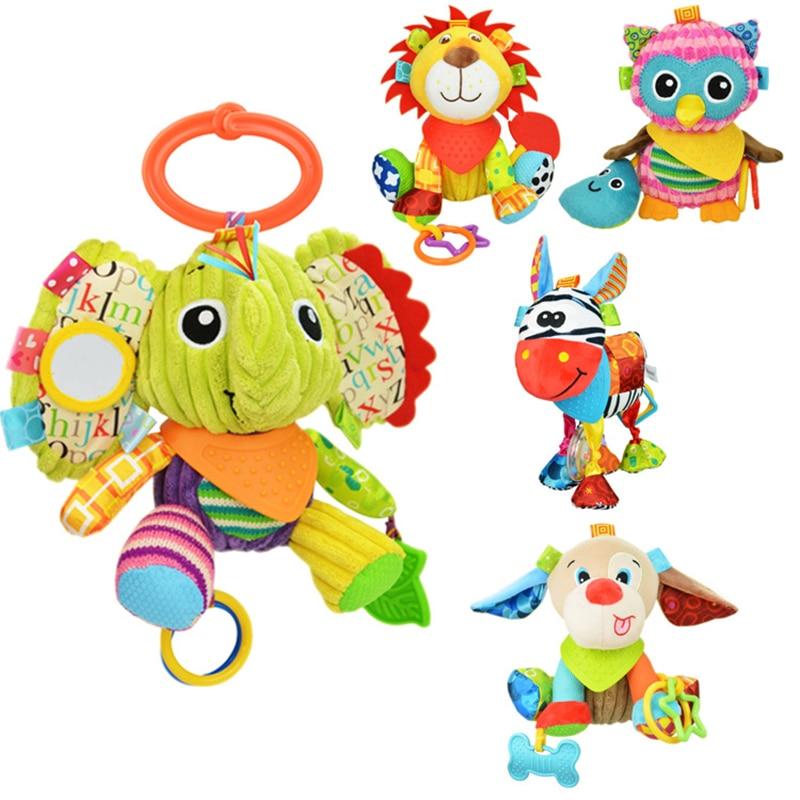 Animal bébé cloche main saisir jouets éducatifs bébé hochet cloche mobilité sur le lit de berceau suspendu jouet peluche dentition poupées