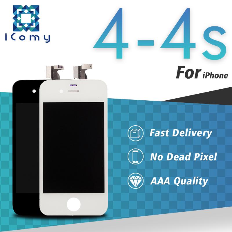 Prix pour Grade aaa qualité noir/blanc pour apple iphone 4 4s écran lcd écran tactile digitizer assemblée expédition libre de dhl