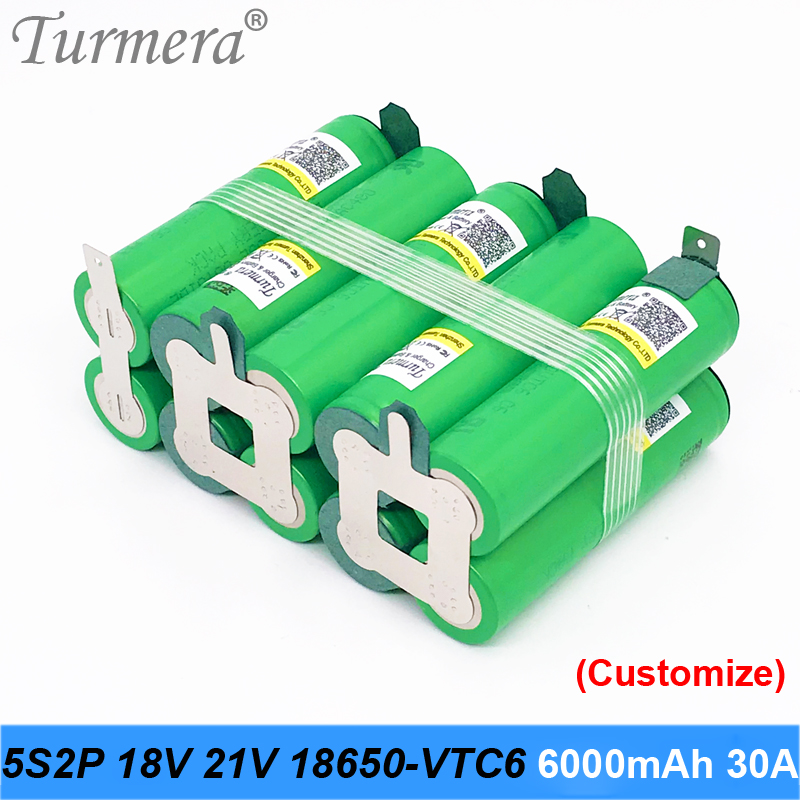 5s2p battery 18650 pack Turmera us18650vtc6 6000mah 18v 21v 30a welding battery for screwdriver tools battery customized battery image