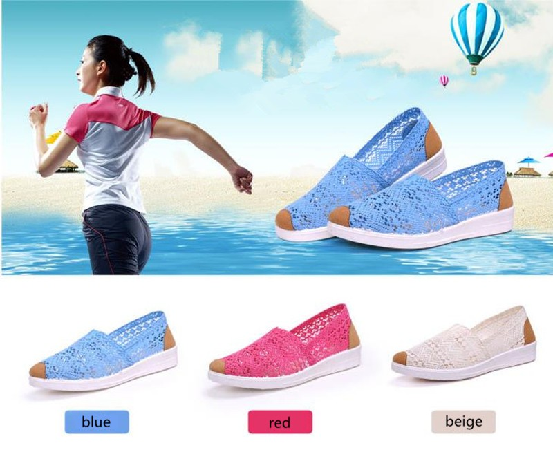 Free Shipping Women Casual Shoes Spring Summer Hollow Lace Flat Shoes Breathable Soft Women Shoes HSE12 (7)