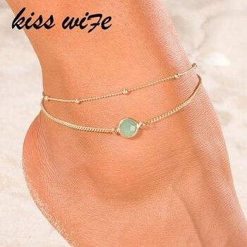 KISSWIFE Boho Opal Female Anklets Barefoot Crochet Sandals Foot Jewelry